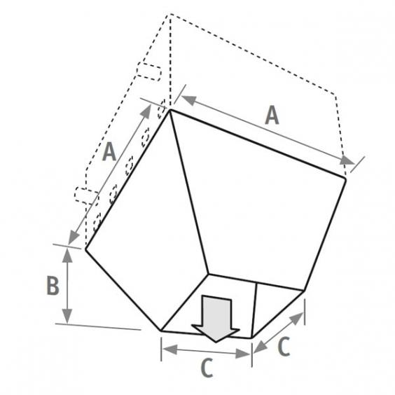 ДИФФУЗОР AVS® - Заказ вместе с тепловентилятором. Необходима регулировка тепловентилятора. - В этом варианте используется тепловентилятор без решетки для выходящего воздуха - Поставляется отдельно. Легкость монтажа и демонтажа благодаря защелкам. - Отделка идентична отделке тепловентилятора (антрацитово-серый металлик, цвет 001) - аэродинамические угловые заслонки из алюминия, покрытого матовым черным лаком. - максимальная высота = 2.5 м от нижней поверхности устройства. КОНУС ДЛЯ ВЫХОДЯЩЕГО ВОЗДУХА jaga-avs