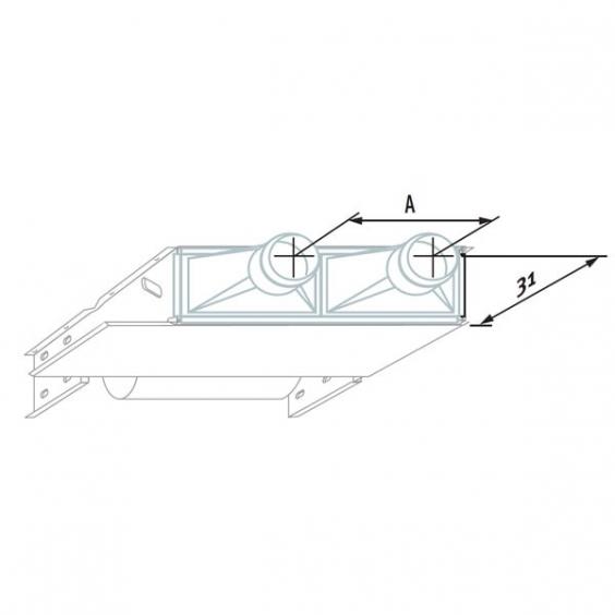 Воздухораспределительная камера с двумя отверстиями 16 см для модели BRBC