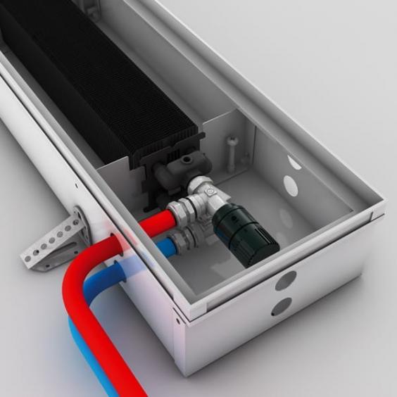 Соединение с термостатической головкой в поддоне радиатора